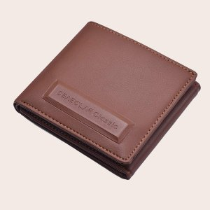 Маленький мужской кошелек с тиснением SHEIN. Цвет: коричневые