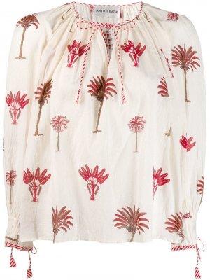 Блузка с принтом Antik Batik. Цвет: белый
