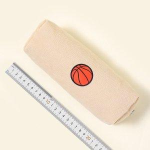 Сумка для карандашей с баскетбольным принтом SHEIN. Цвет: aбрикосовый