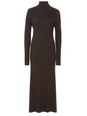 Платье-водолазка шерстяное CELINE. Цвет: зеленый