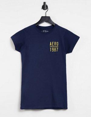 Темно-синяя футболка с логотипом 1987-Темно-синий Aeropostale