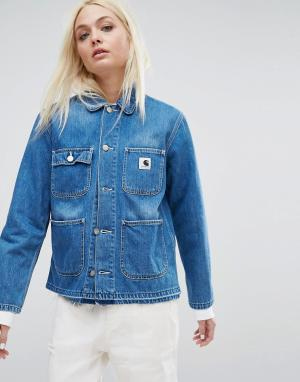 Джинсовая куртка с необработанным краем WIP Carhartt. Цвет: синий