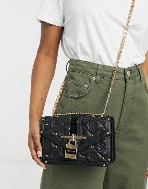 Черная стеганая сумка-портфель с замком спереди и монограммой -Черный цвет River Island