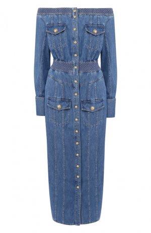 Джинсовое платье Balmain. Цвет: синий