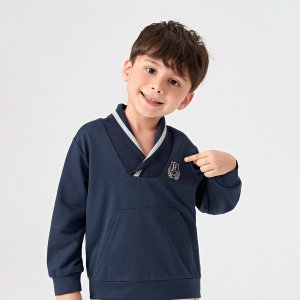Графический принт буква Повседневный Свитшоты для мальчиков SHEIN. Цвет: темно-синий
