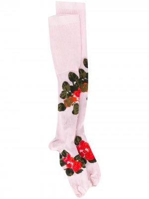Высокие гольфы с цветочным принтом Simone Rocha. Цвет: розовый