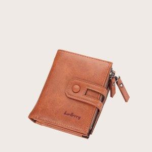 Мужской кошелек с текстовым рисунком SHEIN. Цвет: коричневые