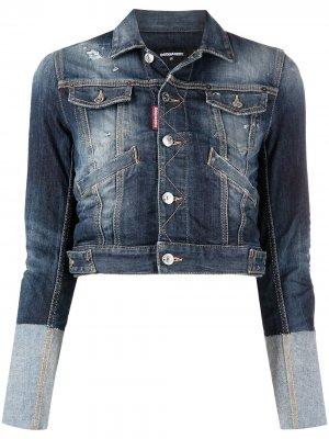 Укороченная джинсовая куртка Dsquared2. Цвет: синий