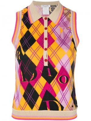 Майка с ромбами Christian Dior Pre-Owned. Цвет: розовый