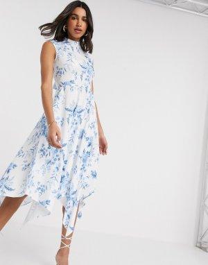Платье миди с цветочным принтом и высоким воротником -Белый Closet London