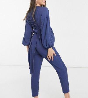 Синий комбинезон с рукавами кимоно на пуговицах ASOS DESIGN Maternity-Голубой Maternity