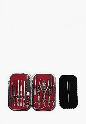 Набор маникюрный Zinger профессиональный из 11 предметов. Цвет: бордовый