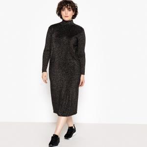 Платье-пуловер длинное из блестящего трикотажа, длинные рукава CASTALUNA. Цвет: разноцветный