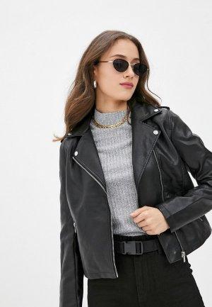 Куртка кожаная Zolla. Цвет: черный