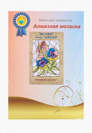 Набор для творчества Милато алмазная мозаика Анютины глазки, 19 цветов. Цвет: разноцветный