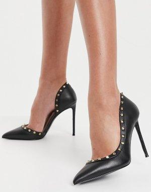 Туфли на шпильке с заклепками из черной кожи Viyana-Черный Steve Madden