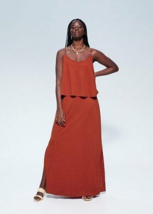 Длинное платье с двухслойным лифом - Berta Mango. Цвет: красно-коричневый