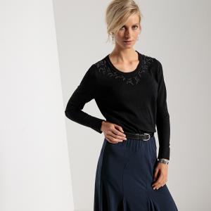 Пуловер с круглым вырезом, оригинальной отделкой бисером и длинными рукавами ANNE WEYBURN. Цвет: хаки,черный