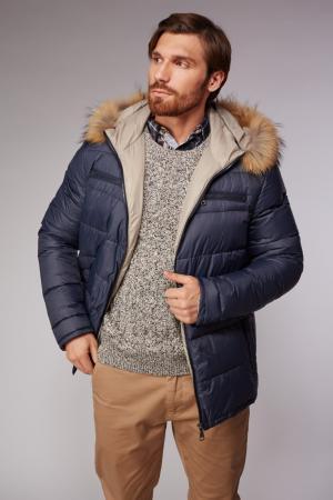 Мужская зимняя пуховая куртка с мехом AFG. Цвет: синий