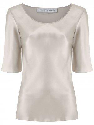 Атласная блузка Gloria Coelho. Цвет: серебристый