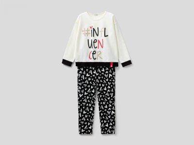 Пижама с принтом Benetton. Цвет: мультиколор