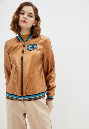 Куртка кожаная Alexander Bogdanov. Цвет: коричневый