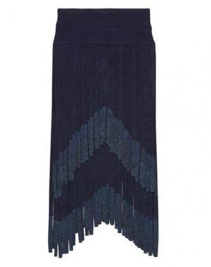 Юбка длиной 3/4 HERVÉ LÉGER. Цвет: темно-синий
