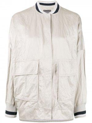 Атласная куртка-бомбер свободного кроя Lorena Antoniazzi. Цвет: серый