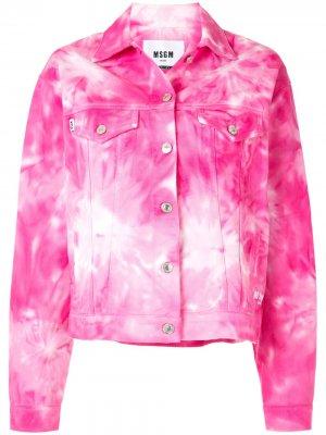 Джинсовая куртка с принтом тай-дай MSGM. Цвет: розовый