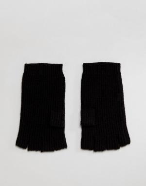 Перчатки без пальцев с добавлением мериносовой шерсти AllSaints. Цвет: черный
