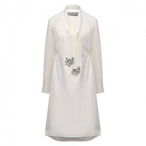 Хлопковое платье Lanvin. Цвет: бежевый
