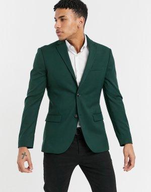 Темно-зеленый костюмный пиджак облегающего кроя -Зеленый цвет Topman