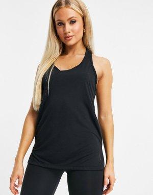 Черная майка для йоги Nike-Черный Nike Training