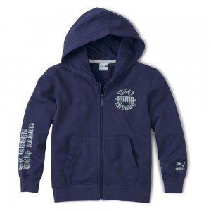 Детская толстовка T4C Full-Zip Hoodie PUMA. Цвет: синий