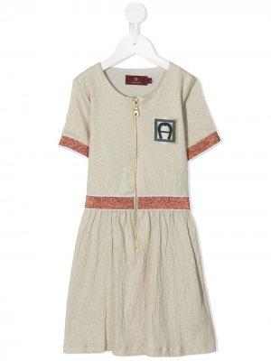 Платье А-силуэта на молнии Aigner Kids. Цвет: золотистый