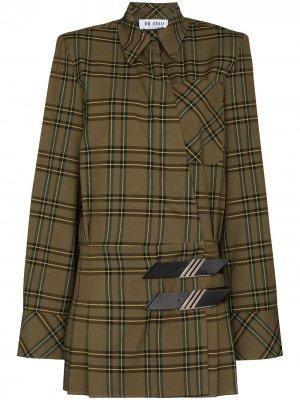 Клетчатое платье мини The Attico. Цвет: зеленый