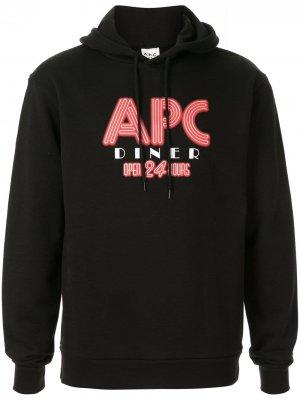 Худи с графичным принтом A.P.C.. Цвет: черный