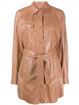 Пальто-рубашка с поясом Drome. Цвет: нейтральные цвета