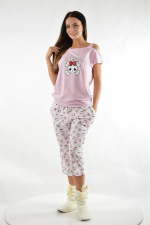 Пижама с капри Relax Mode. Цвет: розовый