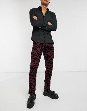 Костюмные брюки бордового цвета с тигровым флокированным рисунком -Красный Twisted Tailor