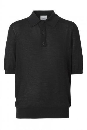 Черное поло из шерсти и шелка Burberry. Цвет: черный