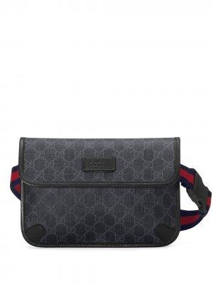 Поясная сумка с логотипом GG Gucci. Цвет: черный