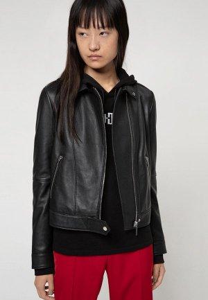 Куртка кожаная Hugo Lelari. Цвет: черный