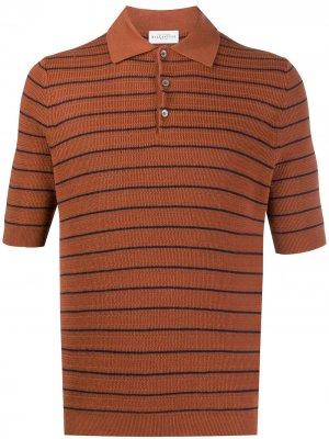 Striped knitted polo shirt Ballantyne. Цвет: коричневый