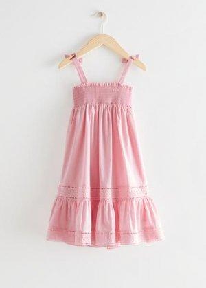 Детский сарафан-бандо, окрашенный натуральным красителем &Other Stories. Цвет: розовый
