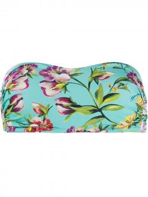 Лиф бикини без бретелей с цветочным принтом Dolce & Gabbana. Цвет: синий