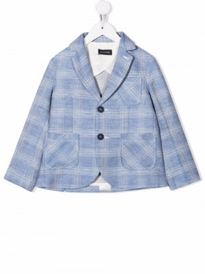 Checked linen-blend blazer Monnalisa. Цвет: синий