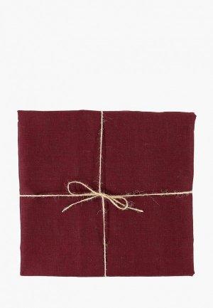 Скатерть Tkano 143х143. Цвет: бордовый
