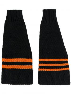 Перчатки с полосками Raf Simons. Цвет: чёрный