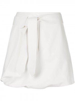 Пышная юбка мини с поясом Salvatore Ferragamo. Цвет: белый
